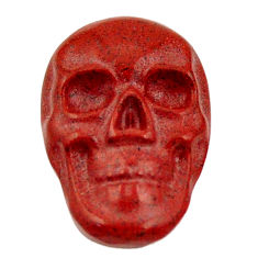 Natural 7.40cts jasper red carving 17.5x12 mm fancy skull loose gemstone s18183