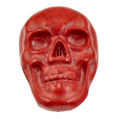 Natural 8.25cts jasper red carving 17.5x12 mm fancy skull loose gemstone s18186