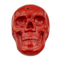 Natural 7.40cts jasper red carving 17.5x12 mm fancy skull loose gemstone s18188