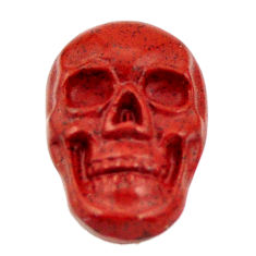 Natural 8.25cts jasper red carving 17.5x12 mm fancy skull loose gemstone s18189