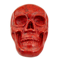 Natural 7.40cts jasper red carving 17.5x12 mm fancy skull loose gemstone s18191