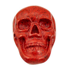Natural 7.40cts jasper red carving 17.5x12 mm fancy skull loose gemstone s18192