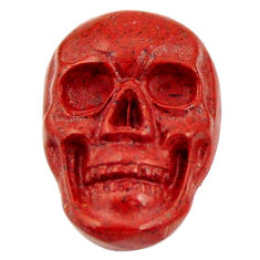 Natural 8.25cts jasper red carving 17.5x12 mm fancy skull loose gemstone s18193