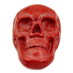Natural 6.30cts jasper red carving 17.5x12 mm fancy skull loose gemstone s18194
