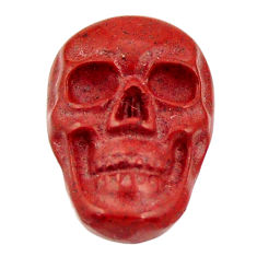 Natural 7.40cts jasper red carving 17.5x12 mm fancy skull loose gemstone s18196