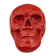 Natural 8.15cts jasper red carving 17.5x12 mm fancy skull loose gemstone s18197