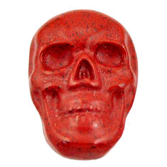 Natural 7.40cts jasper red carving 17.5x12 mm fancy skull loose gemstone s18198