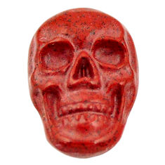 Natural 7.15cts jasper red carving 17x12 mm fancy skull loose gemstone s18195