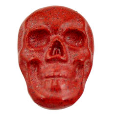 Natural 8.25cts jasper red carving 18x12 mm fancy skull loose gemstone s18184