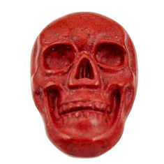 Natural 8.15cts jasper red carving 18x12 mm fancy skull loose gemstone s18185