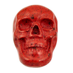 Natural 8.45cts jasper red carving 18x12 mm fancy skull loose gemstone s18187