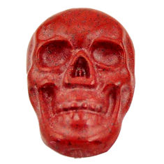 Natural 8.25cts jasper red carving 18x12 mm fancy skull loose gemstone s18199