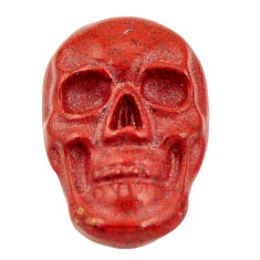 Natural 7.40cts jasper red carving 18x12 mm fancy skull loose gemstone s18200