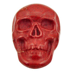 Natural 15.30cts jasper red carving 23.5x16 mm fancy skull loose gemstone s18007