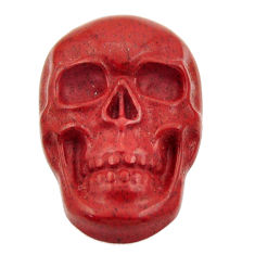 Natural 14.30cts jasper red carving 24x15.5 mm fancy skull loose gemstone s18011