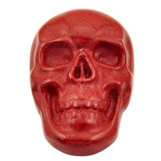 Natural 17.40cts jasper red carving 24x16 mm fancy skull loose gemstone s18008