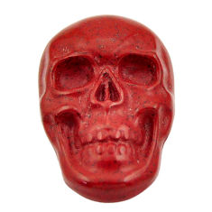 Natural 14.45cts jasper red carving 24x16 mm fancy skull loose gemstone s18010