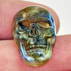 Natural 14.20cts labradorite blue carving 22.5x15 mm skull loose gemstone s18230