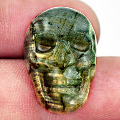 Natural 15.45cts labradorite blue carving 22.5x15 mm skull loose gemstone s18238