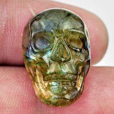 Natural 15.30cts labradorite blue carving 22.5x15 mm skull loose gemstone s18240