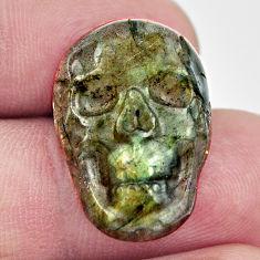 Natural 14.30cts labradorite blue carving 22x15 mm skull loose gemstone s18223
