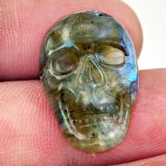 Natural 13.25cts labradorite blue carving 22x15 mm skull loose gemstone s18228