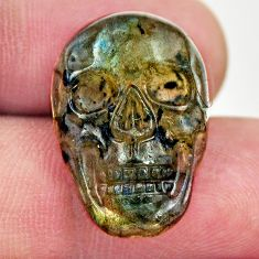 Natural 14.05cts labradorite blue carving 22x15 mm skull loose gemstone s18232