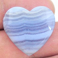 Natural 23.45cts lace agate blue cabochon 23x22 mm heart loose gemstone s24759