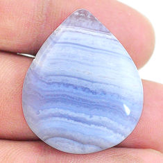 Natural 26.20cts lace agate blue cabochon 28.5x23.5mm pear loose gemstone s24748