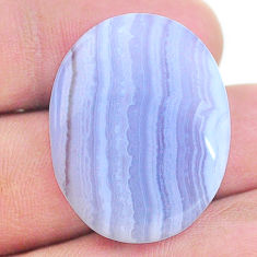 Natural 26.30cts lace agate blue cabochon 28x22 mm oval loose gemstone s24742