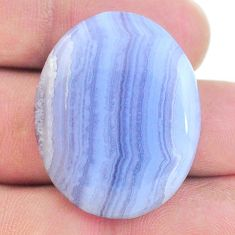 Natural 37.35cts lace agate blue cabochon 31x25 mm oval loose gemstone s24744