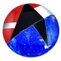 Natural 11.30cts lapis lazuli blue 20x20 mm round loose gemstone s20486