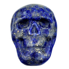 Natural 15.30cts lapis lazuli blue 22.5x15.5 mm skull loose gemstone s18033