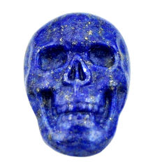 Natural 17.40cts lapis lazuli blue 22.5x15.5mm fancy skull loose gemstone s18026