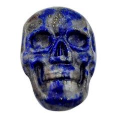 Natural 7.45cts lapis lazuli blue cabochon 17.5x11mm skull loose gemstone s18151