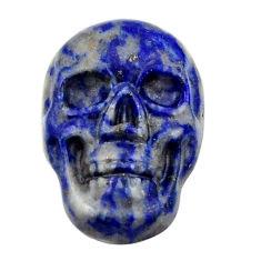 Natural 9.30cts lapis lazuli blue cabochon 17.5x12mm skull loose gemstone s18142