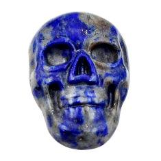 Natural 8.25cts lapis lazuli blue cabochon 17.5x12mm skull loose gemstone s18150