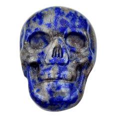 Natural 7.35cts lapis lazuli blue cabochon 17.5x12mm skull loose gemstone s18155