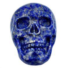 Natural 16.30cts lapis lazuli blue carving 22.5x15mm skull loose gemstone s18012