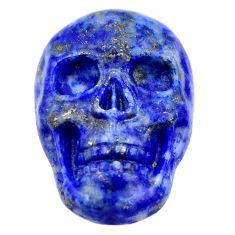 Natural 17.10cts lapis lazuli blue carving 22.5x15mm skull loose gemstone s18014