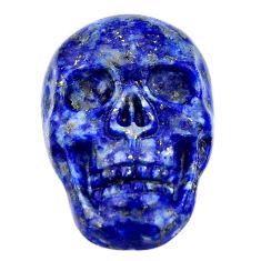 Natural 17.40cts lapis lazuli blue carving 22.5x15mm skull loose gemstone s18018