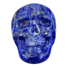 Natural 15.10cts lapis lazuli blue carving 22.5x15mm skull loose gemstone s18019