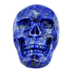 Natural 17.25cts lapis lazuli blue carving 22.5x15mm skull loose gemstone s18021