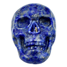 Natural 16.30cts lapis lazuli blue carving 22.5x15mm skull loose gemstone s18022