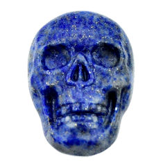 Natural 17.40cts lapis lazuli blue carving 22.5x15mm skull loose gemstone s18025