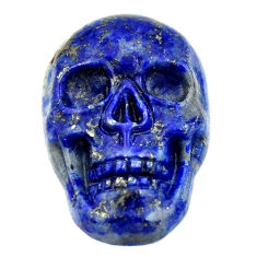Natural 18.25cts lapis lazuli blue carving 22.5x15mm skull loose gemstone s18027