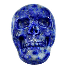 Natural 17.40cts lapis lazuli blue carving 22.5x15mm skull loose gemstone s18029