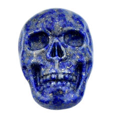 Natural 16.30cts lapis lazuli blue carving 22.5x15mm skull loose gemstone s18030