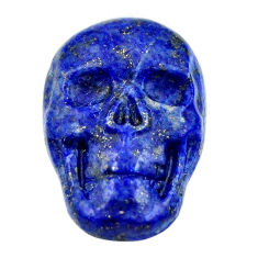 Natural 16.30cts lapis lazuli blue carving 22.5x15mm skull loose gemstone s18031