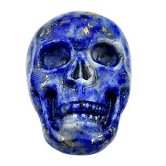 Natural 16.30cts lapis lazuli blue carving 22.5x15mm skull loose gemstone s18032